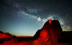 life on the red planet (c@rljones) Tags: red sky usa valleyoffire nature night dark stars landscape rocks natural space nevada stellar galaxy glowing universe cosmos extraterrestrial martian gaseous milkyway httpwwwrljonescouk