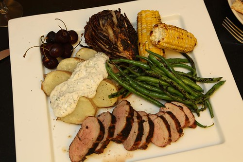 Grilled Pork Tenderloin, with Baked Potato Salad, Cherries, Grilled Radicchio, Grilled Corn, and Grilled Green Beans