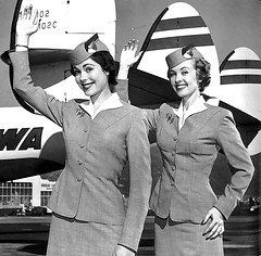 c. 1949 ... 2 TWA stews! (x-ray delta one) Tags: illustration vintage magazine ads advertising airport aircraft ad 1950s concorde americana boeing 707 airlines americanairlines dc3 popul