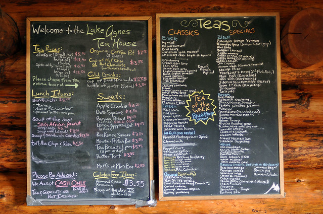 Lake Agnes Teahouse menu board