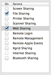 Web Sharing setting