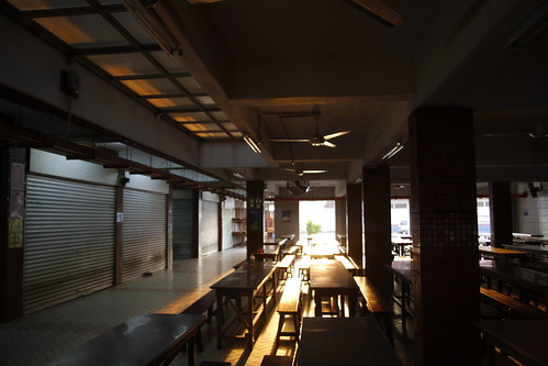 School canteen drenched with golden sunlight 2
