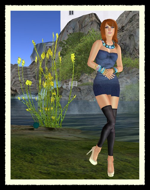 [IREN]-Knit Dress- blue & Natural Beauty for Chic Boutique!