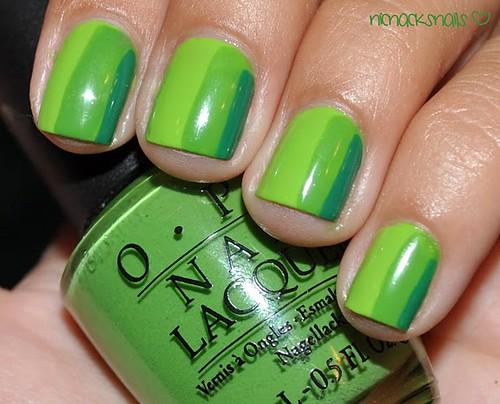 Green Striped Mani