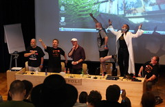 Heroic poses (esaskar) Tags: espoo pose panel hero discussion ropecon dipoli 40d jeffrichard erikmona frankmentzer ropecon2011 petenash mikepohjola villevuorela