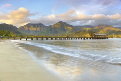 A New Day - Hanalai, Kauai, Hawaii (PatrickSmithPhotography) Tags: ocean sea sky usa seascape beach clouds sunrise landscape boats hawaii pier sand pacific hanalei firstlight waialeale