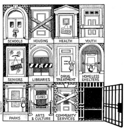 Cartoon image showing a grid of doors, for example to a school, library, lousing, drug treatment centre, arts and culture - all are locked except one, the door to a prison cell