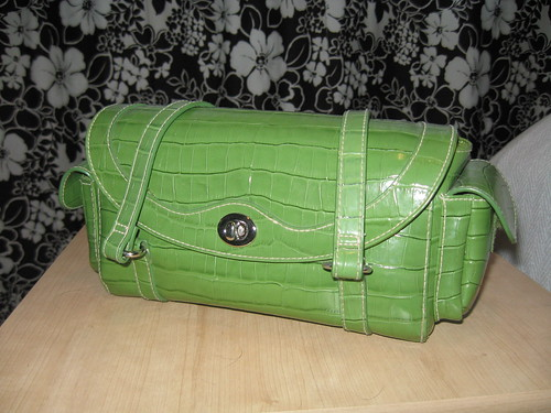 Bright green fake croc bag