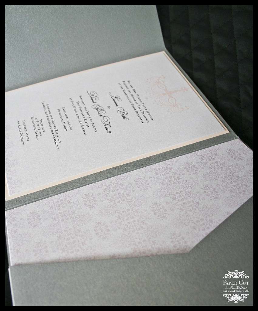 Pink and Silver Chendelier Wedding Invitation