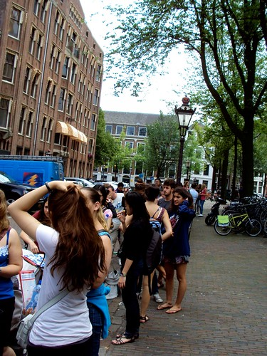 Super long Queue outside Anne Frank's House in Amsterdam