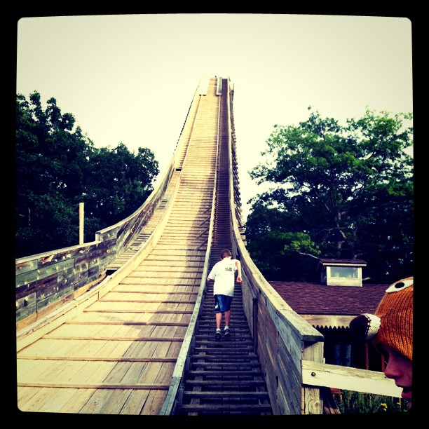 Up the ski jump