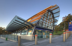 Macquarie Park Station - east entrance (on the water photography) Tags: architecture railwaystation modernarchitecture australianarchitecture macquariepark petermiller sydneyarchitecture onthewaterphotography macquarieparkstation postcode2113