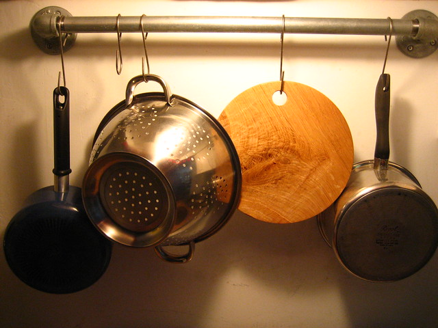 Cutting Board on pot rack