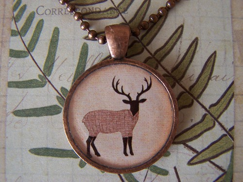 Antique Copper Resin Picture Pendant Brown Stag by valentine's attic