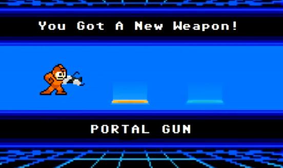 Megaman con la pistola de Portal