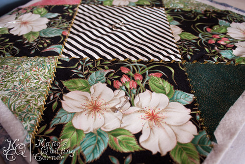 Quilt as you Go - Crazy Quilt - Blank Quilting Magnolia and Cherry Blossom Fabric