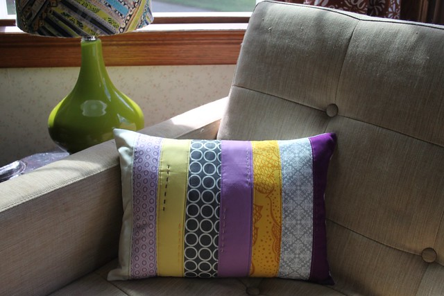Purple, Grey, and Yellow Strip Pillow