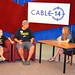 The Councillor and son Jake get interviewed by Linda Rourke on the Mock Show Talk Show in the Cable 14 Pavilion at this year's Festival of Friends