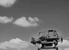 Up There (~Stacie~) Tags: bw tractor mounted elevated upthere nerboo