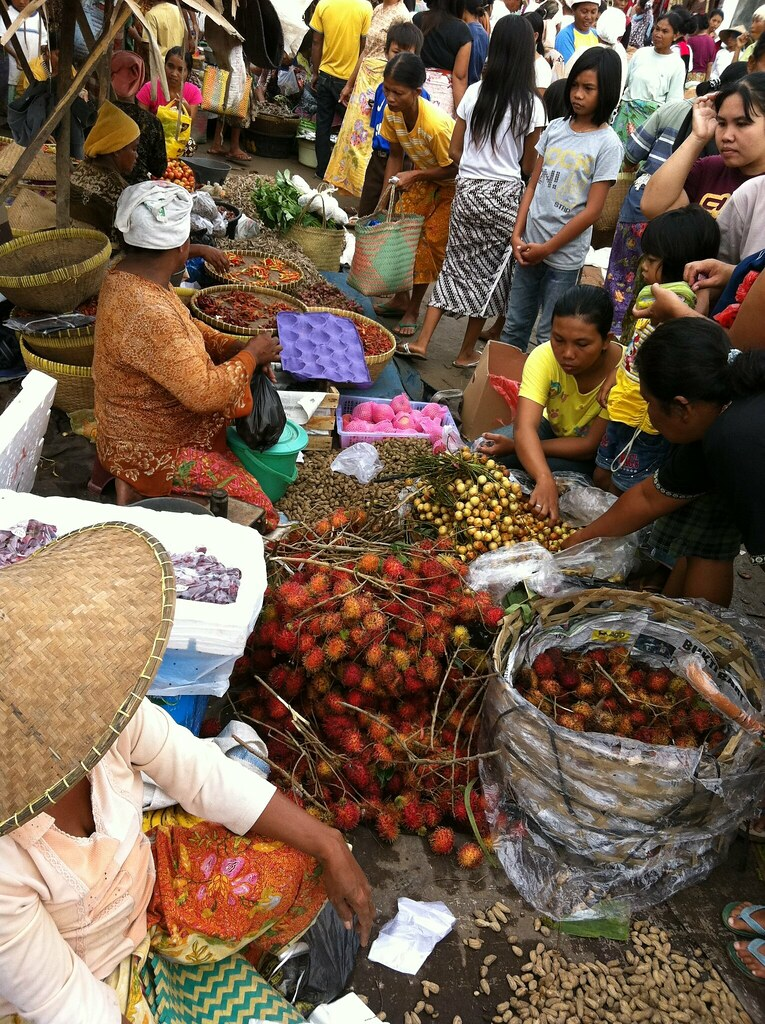 The morning market at Kuta, Lombok, Nusa Tenggara, Indonesia