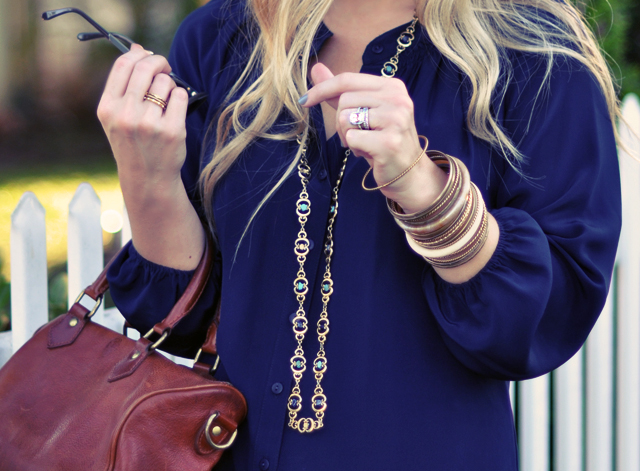 Jigsaw London Navy Blouse - vintage  necklace-bangles-cognac bag