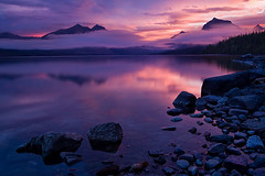 The Dark Side (David M. Cobb) Tags: usa lake mountains fall water sunrise cool montana warm mt dramatic rockymountains glaciernationalpark drama continentaldivide lakemcdonald