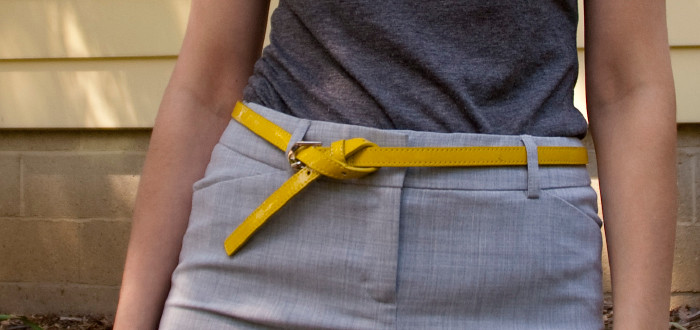 dash dot dotty dashdotdotty hello yellow belt gray outfit ideas