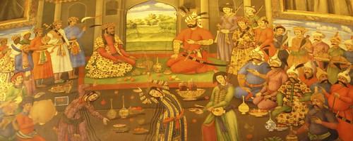 King Shah Abbas welcomes King Nader Khan of Turkestan.