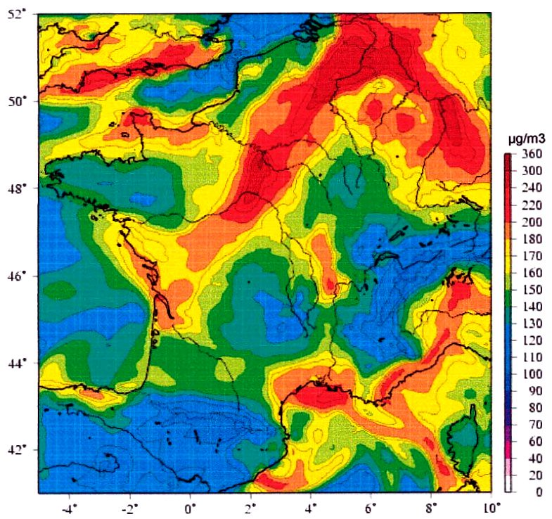 pollution de l'air en France le 8 août 2003
