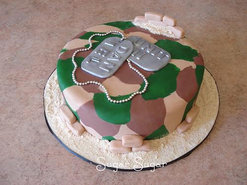 Army camo dogtag cake