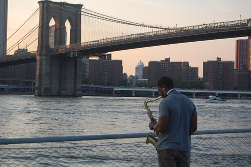Sax player practicing in Brooklyn Bridge Park