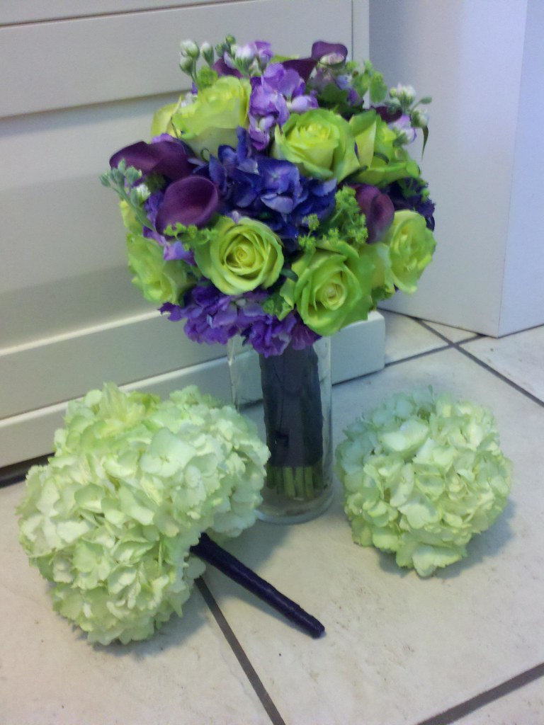Green and purple bridal bouquet