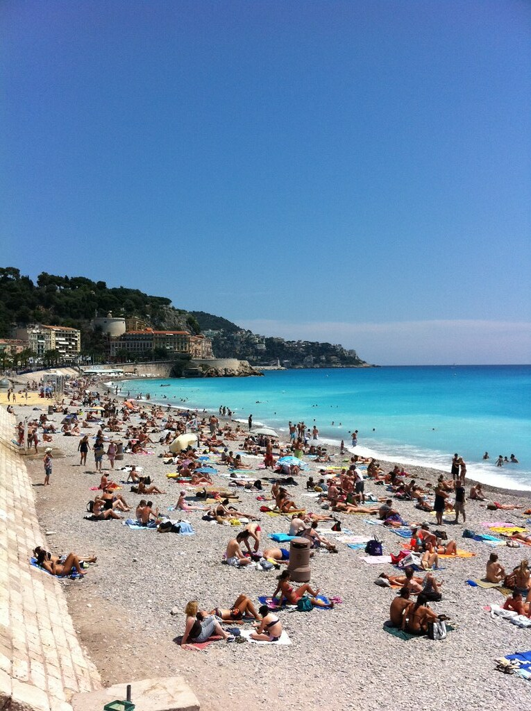 It's busy on the beach in downtown Nice