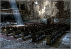 I think those seats are reserved. (DanCog) Tags: abandoned buffalo nikon theatre balcony exploring neglected rusty weathered crusty urbex d5100