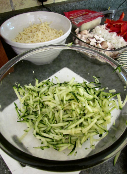 Shredded Zucchini for Vegetable Pizza Topping