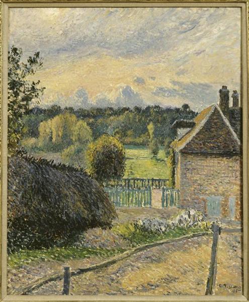 Camille Pissarro, La Maison Delafolie à Eragny, soleil couchant (1885)