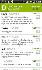 User reviews of diary.com mobile app