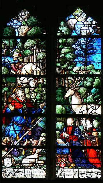 St. Eustace and stag, French renaissance stained glass