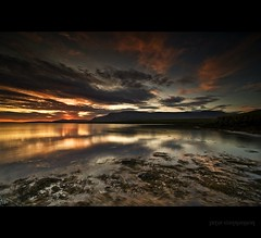 Iceland picture (Ptur Gunn Photograpphy) Tags: ocean new trip travel blue sunset red sea sky sun mountain reflection art water set zeiss lost bay iceland amazing different sony esja full carl midnight frame fjord 16 mm wilderness alpha 35 esjan sland petur gunn ptur 1635 gunnarsson mr
