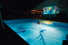 Summer Movie (sandy.redding) Tags: california summer pool movie projector kickass aaronjohnson lcdprojector explored
