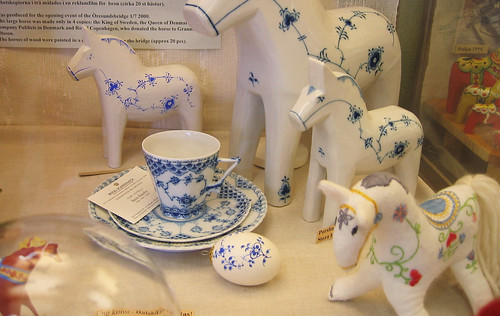 Blue and fabric horses