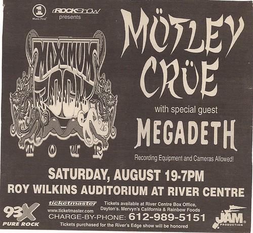 08-19-00 Motley Crue/Megadeth @ Roy Wilkins, St. Paul, MN