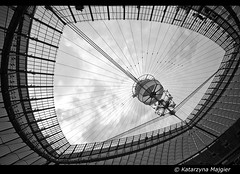 National Stadium, Warsaw (under construction) (Danio ()) Tags: blackandwhite bw blancoynegro monochrome monocromo noiretblanc stadium praga warsaw monochrom stadion danio warszawa nationalstadium  czarnobiae czarnobialy stadiondziesiciolecia euro2012 schwarzundweis stadionnarodowy   monochromepicture fotografiaczarnobiaa   katarzynamajgier