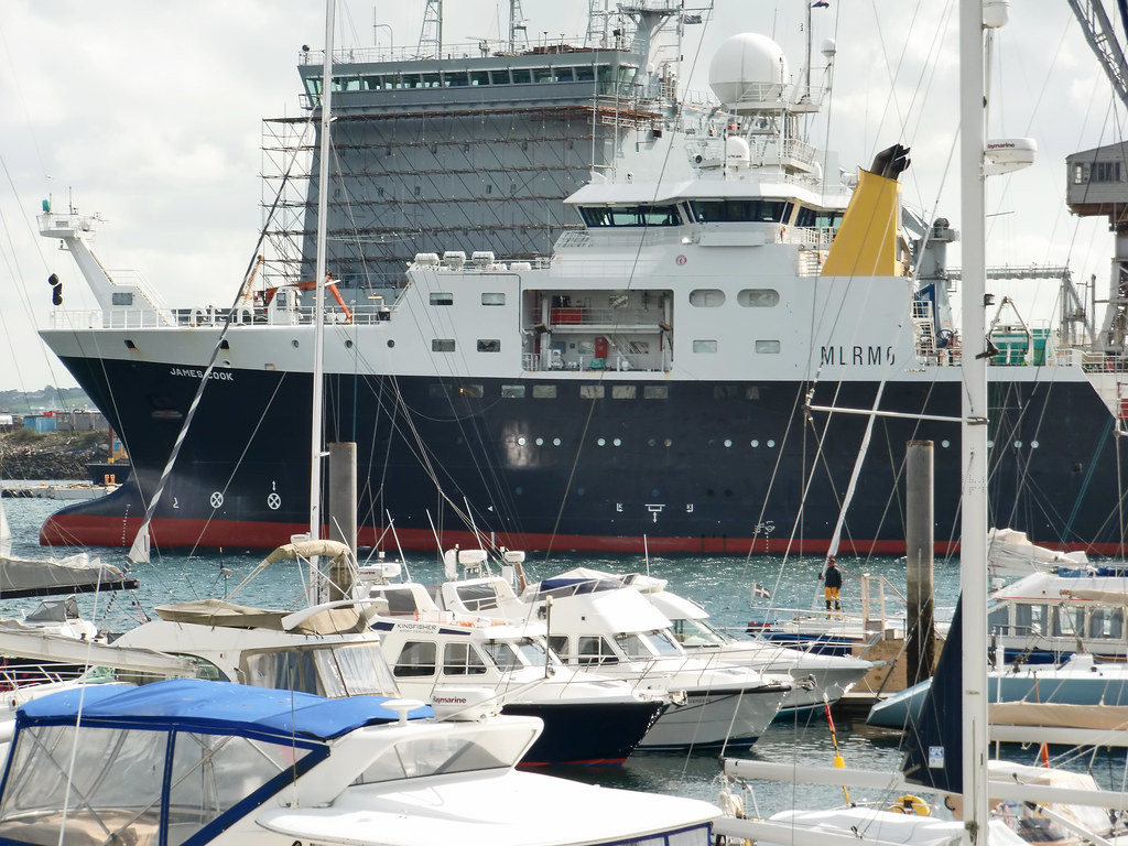 The RRS James Cook in Falmouth harbour