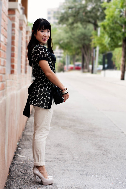 forever 21 polka-dot top forever 21 belted twill pants michael kors small runway mk5430 marco santi dash nude pumps chanel black lambskin m/l flap forever 21 enamel bangles forever 21 crystal necklace