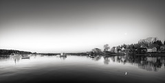 stillness (Nate Parker Photography) Tags: blackandwhite bw moon seascape reflection monochrome bernard boats dawn harbor still twilight fishing village maine coastal bassharbor mountdesertisland acadianationalpark haveaniceday lobsterboats niksilverefex