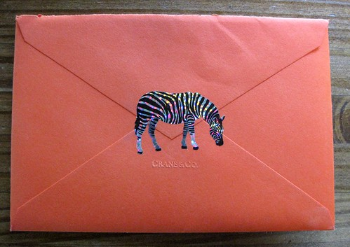Sparkle zebra sticker on orange Crane envelope