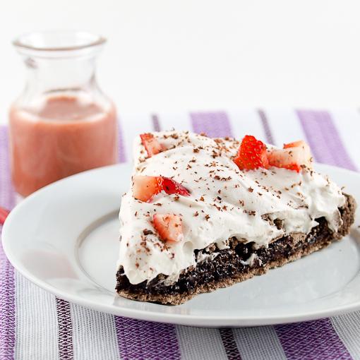 Dark Chocolate Chip Pavlova with Strawberry Whipped Cream