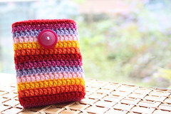 Crochet harddisk case :) (zooivlooi) Tags: pink red colors yellow colours crochet case button sleeve