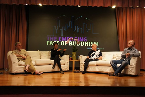 The Emerging Face of Buddhism panel with Ken, Diane, Shinzen, and Hokai